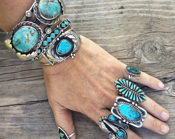 Featured listing image: Huge 70gm vintage Navajo Douglas Harrison turquoise cuff bracelet, Native American Indian jewelry Old Pawn Navajo bracelet turquoise jewelry