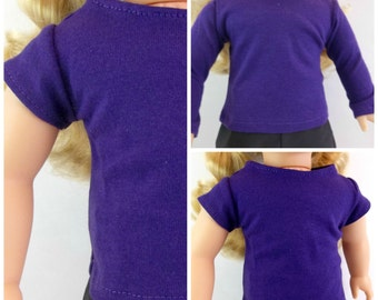 18 inch Doll Purple T shirt Long or Short Sleeves Fits American Girl Doll
