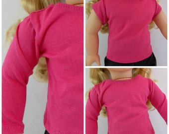 18 inch Doll Dark Pink Long or Short Sleeved T shirt Fits American Girl Doll Clothing Toys