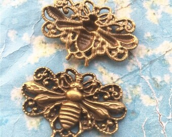 8pcs 50x30mm antiqued bronze large bee charms findings