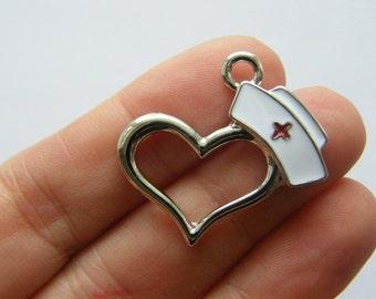 1 Nurse cap heart charm silver tone MD67