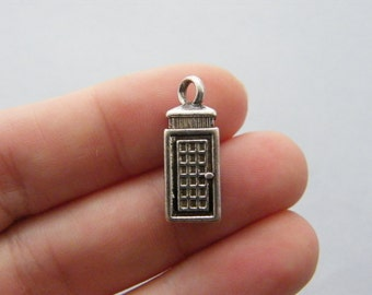 BULK 30 Telephone booth charms antique silver tone PT41