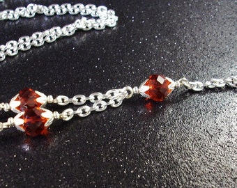 Ruby Red faceted crystals and silver chain Identification lanyard necklace