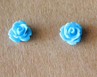 Handmade Rosebud Flower Stud Earrings 10mm Blue