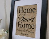 Personalized Home Sweet Home Burlap Print. Great for wedding gift, engagement gift, anniversary gift!