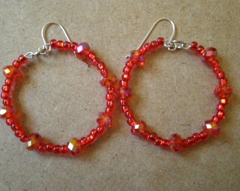 Iridescent fiery red hoops