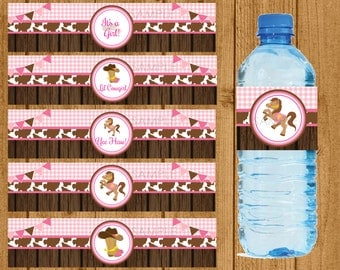 Cowgirl Baby Shower Water Bottle Wrappers, Lil' Cowgirl Water Bottle Label Wrappers, Girl Baby Shower