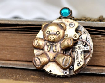 VINTAGE TEDDY,  antiqued toy bear charm steampunk watch movement necklace in antiqued brass