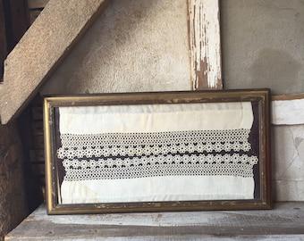 Framed antique textiles/ tatting/ home decor / gold wood frame / handmade /