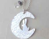 Moon Bunny Necklace Small Sterling Silver Bunnies on the Moon Handmade Original Design