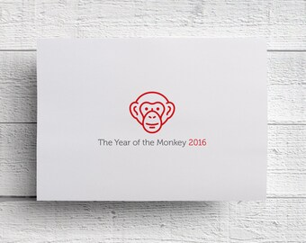 The Year of the Monkey Cards Chinese Zodiac Cards Chinese New Year Cards