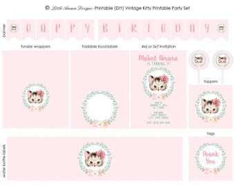 Vintage Kitty DIY Printable Party Set
