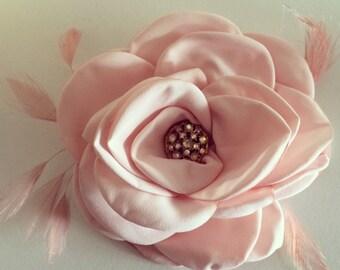 Pink Satin Flower Hair Peice