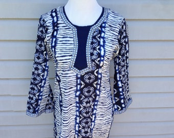 Blue and White Ethnic Tunic with Silver accents