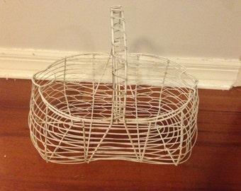 White Wire Vintage Egg Basket