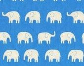 SuperBowl Sale Daiwabo Japan Fabric, Tip Top Elephant Walk Blue, lightweight Cotton canvas, 1/2 Yard