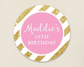 Gold and Pink Birthday Stickers - Sheet of 12 or 24