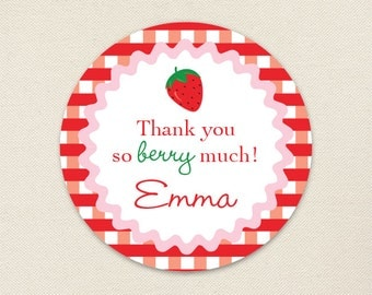 Strawberry Party Favor Stickers - Sheet of 12 or 24