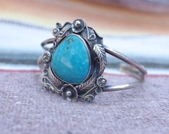 Vintage Pawn Sterling Silver Turquoise Bracelet
