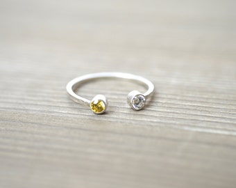 Personalized 2 ( Two ) Birthstone Ring - Sterling Silver or Gold Filled Ring