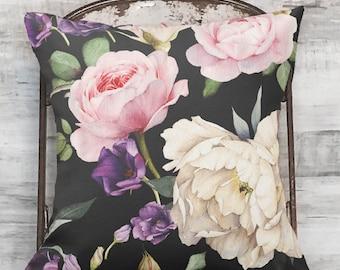 Pillow Cover Pink Rose Botanical Flower on Black #1