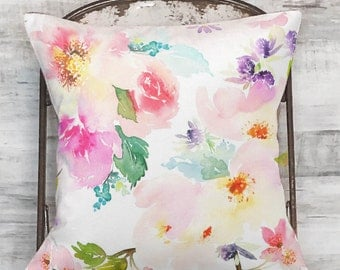 Pillow Cover White Pastel Floral