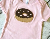 Girls Donut Shirt with Chocolate Frostings and Sprinkles on Pink Shirt
