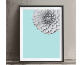 Printable Art Dahlia Black and White and Mint Wall Art Typography Home Decor Print Instant Download Art Print Poster Room Decor Modern Art