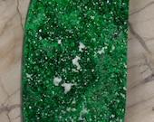 Green Uvarovite Drusy Druzy With White Calcite Cabochon