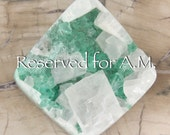 Reserved for A.M. Only. Green Fluorite Cubes Small and Many on Matrix with Large and Small Pearlescent Calcite Crystals on Top