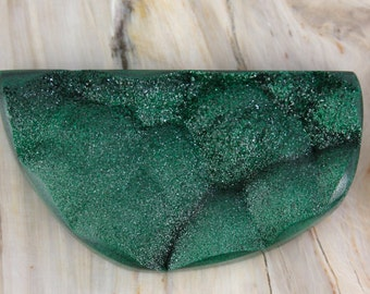 Beautiful Natural Contoured Botryoidal Sparkling Surface Malachite Druzy/Drusy Cabochon