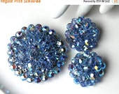 sale Vintage BLUE Aurora Borealis Faceted Cluster Bead Brooch and Earrings