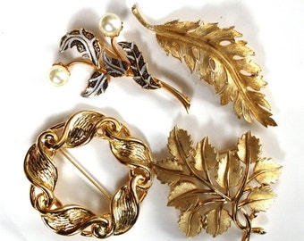 SALE Vintage Brooch Destash Lot Goldtone Leaves Trifari Coro