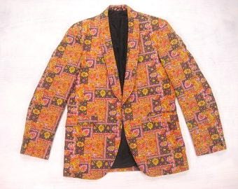 1960s Psychedelic Print Jacket Vintage Retro Men's Floral Colorful Printed Slim Shawl Collar 1-Button Jacket Size 36/37 Short Regular
