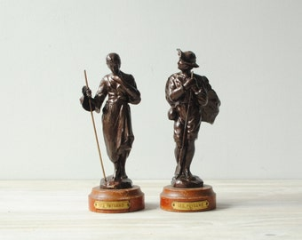 Vintage French Statues, Man and Woman Farmer Statues