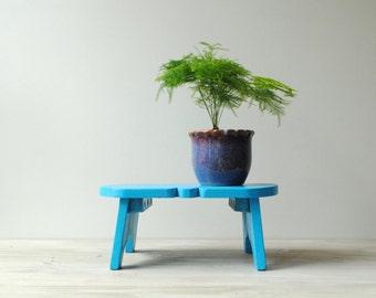 Vintage Step Stool, Blue Wood Stand, Wooden Stool