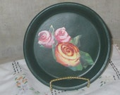 Jewelry plate with pretty roses decal ring dish jewelry dish vanity dish