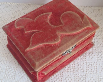 Vintage Jewelry Box Victorian Faded Red Velvet