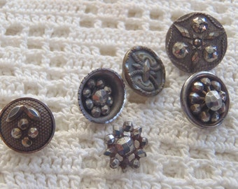 Vintage Cut Steel Buttons 6 Pc.