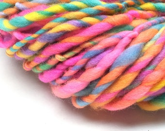 Bulky  rainbow yarn, 50 yards, 1.85 ounces and 52 grams, handspun in merino wool