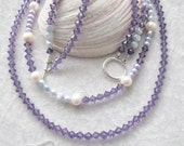 Lily of the Valley Diva Necklace - Amethyst Czech Crystals - Potato Lavender, Blue and White Pearls - Feminine - Chic and Classy - Gift