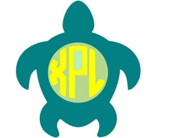 Large Turtle with monogram vinyl decal