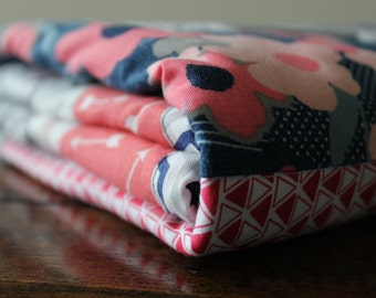 Beautiful Baby Quilt, Girl, Navy, Coral, Pinks, Gray, Star, Modern, Floral