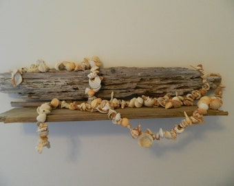 Beachy Garland Shells White Cream Neutral Natural Organic Beach Wedding Bridal Ocean Tropical Holiday Christmas Tree Mantel Driftwood 1