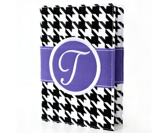 Black Houndstooth Personalized Journal - You select, fabric, frame, and font - Monogrammed sketchbook - Personalized gift - Lined journal