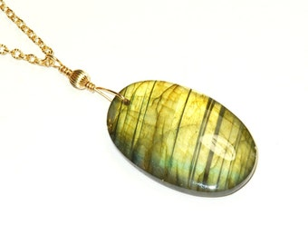 Labradorite Pendant - Long Gold Necklace - Large Gemstone Pendant - 14 K Gold Fill