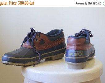 Vintage Duck Shoes Duck Boots 1980s Shoes Blue Rubber Shoes Womens Outdoor Boots Sporto Rain Boots Navy Blue Unworn Womens Size 8 Euro 38