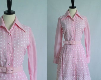 Vintage 1960s Dress Pink Cocktail Dress 60s Dress Womens Pink Dresses 1960s Clothing Embroidered Dress Size Medium