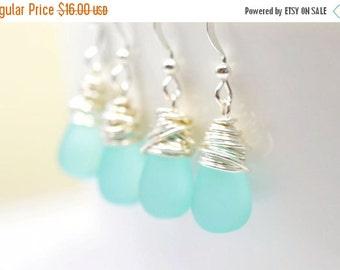 SALE Aqua Teardrop Earrings, Frosted Seafoam Dangle Earrings, Wire Wrapped Teardrops, Mint Earrings, Sea Foam Earrings, Simple Jewelry