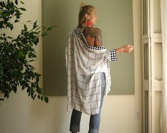 NEW Boho Chic Oversized Kimono Robe Sleeve Minimalist Cardigan Boxy Sweater Ruana Shawl Collar Soft Lightweight- Black and White - One Size